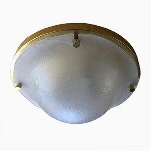 Lampada da soffitto ad incasso in ottone e vetro di Murano di Limburg, anni '70