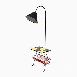 Lámpara de pie con mesa auxiliar y estante, años 60