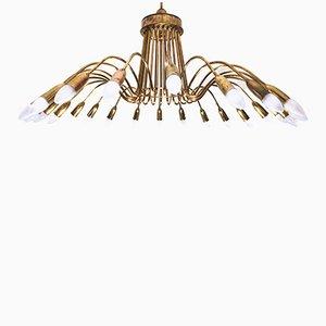 Lámpara de araña Sputnik vintage grande de 24 luces de latón