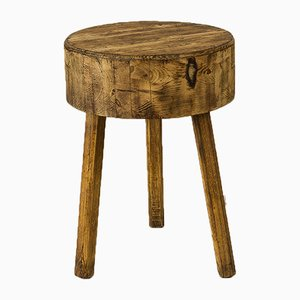 Sgabello vintage in legno di pino