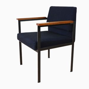 Mid-Century Metal Chair with Wooden Armrests and Upholstered Seat, 1960s