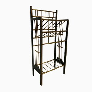 Vintage Wood & Brass Wine Bottle Rack