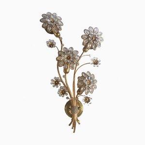 Florale Wandleuchte aus goldenem Metall mit Glasperlen von Walter & Christophe Palme für Palwa, 1960er