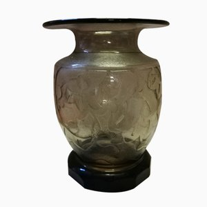 French Acid-Etched Glass Vase from Verame, 1930s