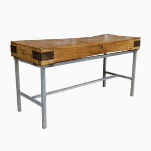 Vintage English Sycamore Butchers Block on Stand