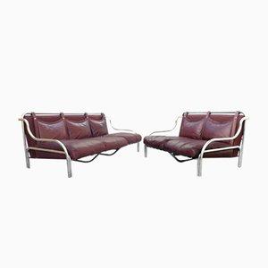 Stringa Sofas aus cognacfarbenem Leder von Gae Aulenti für Poltronova, 1960er, 2er Set