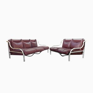 Stringa Sofas in Leather Cognac by Gae Aulenti for Poltronova, 1960s, Set of 2