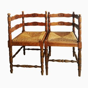 Vintage French Corner Chairs, Set of 2