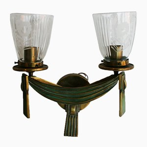 Vintage Bronze Wall Lamp, 1930s
