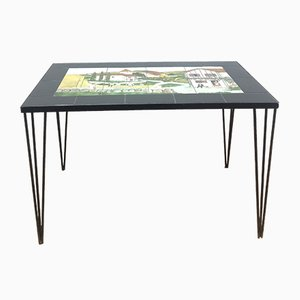 Mid-Century Painted Tile Coffee Table