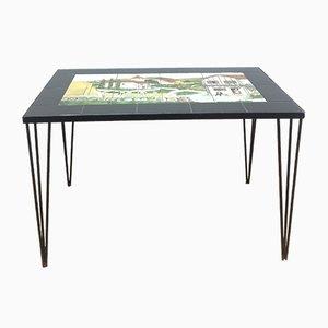 Tavolino da caffè Mid-Century con piastrelle dipinte
