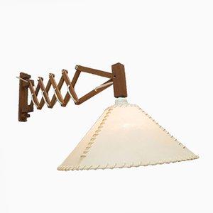Lámpara tijera de madera de Temde, años 60