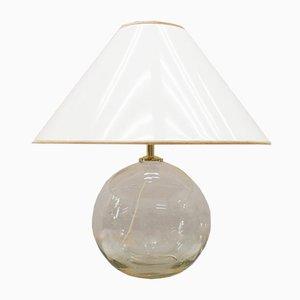 Lámpara de mesa de vidrio claro y dorado, años 60