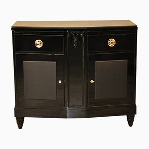 Black Art Deco Commode with Leather Details, 1920s