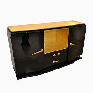 Black Art Deco Sideboard with Golden Details, 1920s