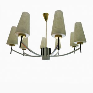 Mid-Century Italian Chandelier Brass & Art Glass