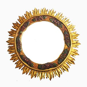 Mid-Century Golden Sun Mirror