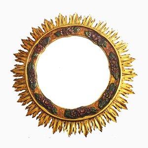 Mid-Century Spiegel in Sonnen-Optik mit Goldrahmen