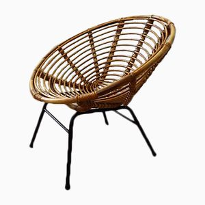 Mid-Century Wicker & Metal Chair