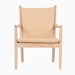 Vintage Beech & Leather Model 1788 Easy Chair by Hans J. Wegner for Fritz Hansen
