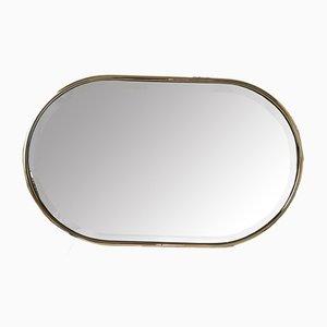 Angeschrägter vergoldeter ovaler Vintage Spiegel