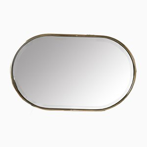 Vintage Gold-Plated Oval Beveled Mirror
