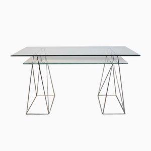 Vintage Chrome & Glass Trestle Leg Console Table or Desk