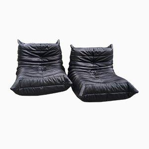 Schwarze Vintage Togo Sessel von Michel Ducaroy für Ligne Roset, 2er Set