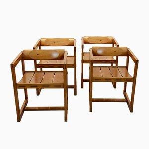 Chaises de Salon Vintage en Pin par Edvin Helseth pour Trybo, Norvège, Set de 4