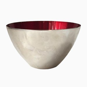 Modernist Conical Bowl in Silver Plate & Enamel by DGS, 1950s