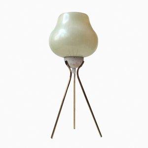 Moderne Tischlampe mit Dreibein aus Messing & gestreiftem Glas, 1960er