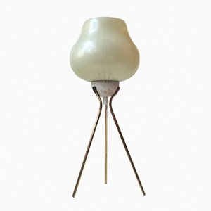 Modernist Tripod Table Light in Brass & Pin-stripe Glass, 1960s