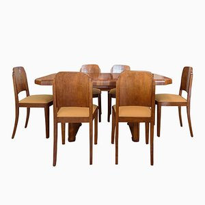 Art Deco Esstisch & 6 Stühle aus Nussholz, 1920er