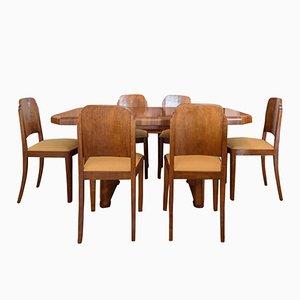 Mesa de comedor Art Déco de nogal y seis sillas, años 20