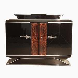 Art Deco Black Commode with Chrome Handles, 1920s
