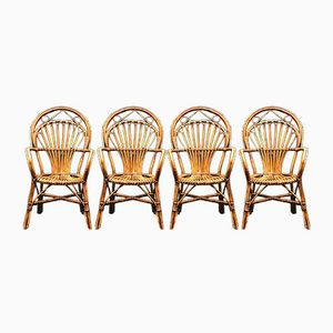 Rattan Side Chairs, 1970s, Set of 4