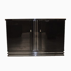 Art Deco Highgloss Black Highboard, 1930s