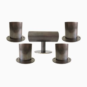 Set of 5 German Bronze Wall Lamps, 1970s