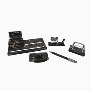 Art Deco Desk Set in Dark Marble, 1920s
