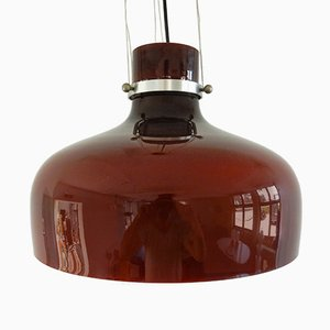 Lampada a sospensione vintage in vetro rosso