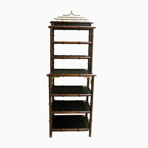 Vintage Wood & Brass Faux Bamboo Bookcase