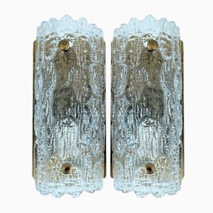 Gefion Glass & Brass Wall Sconces by Carl Fagerlund for Lyfa, 1960s, Set of 2
