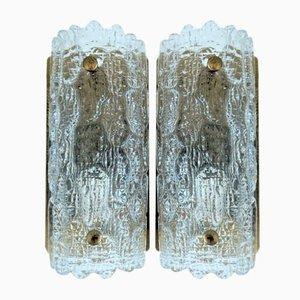 Gefion Wandleuchten aus Glas & Messing von Carl Fagerlund für Lyfa, 1960er, 2er Set