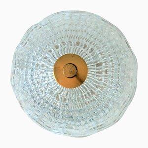 Plafonnier Vintage en Cristal & Laiton par Carl Fagerlund pour Lyfa