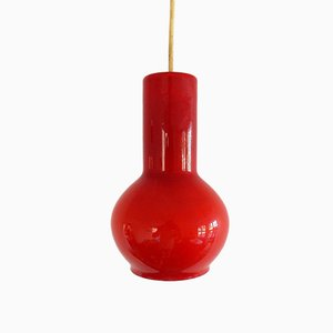 Vintage Red Glass Pendant Lamp