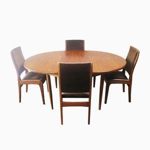 Mid-Century Esstisch und Stühle von G-Plan, 1970er