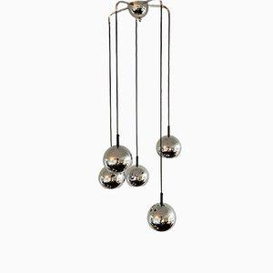 Lámpara de araña era espacial con cinco globos cromados