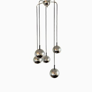 Space Age Chandelier with 5 Chrome Globes