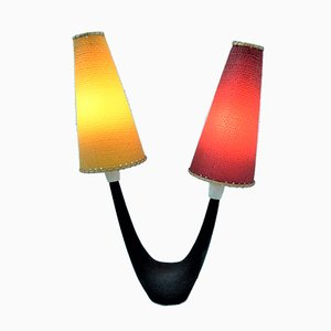 Vintage Table Lamp with Red & Yellow Shades, 1950s
