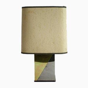 Lámpara de mesa de latón y metal cromado, años 70